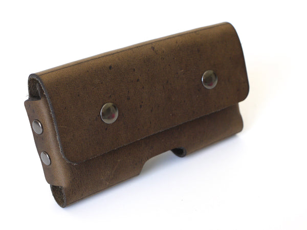 Distressed Brown Leather Mobile Phone Belt Holster