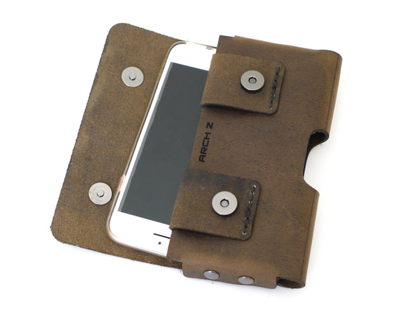 Crazy Horse Brown Leather iPhone 6S Holster