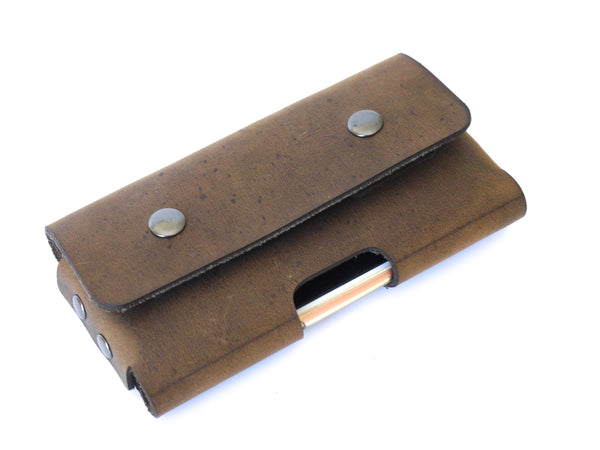 Distressed Brown Leather iPhone 8 Holster