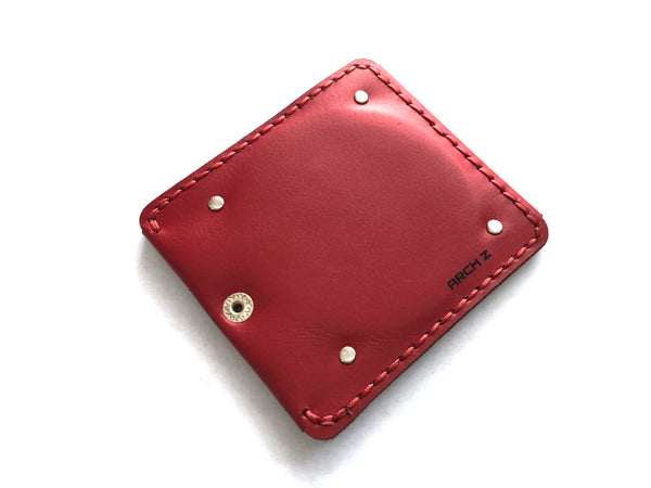 hand stitched red compact with mirror