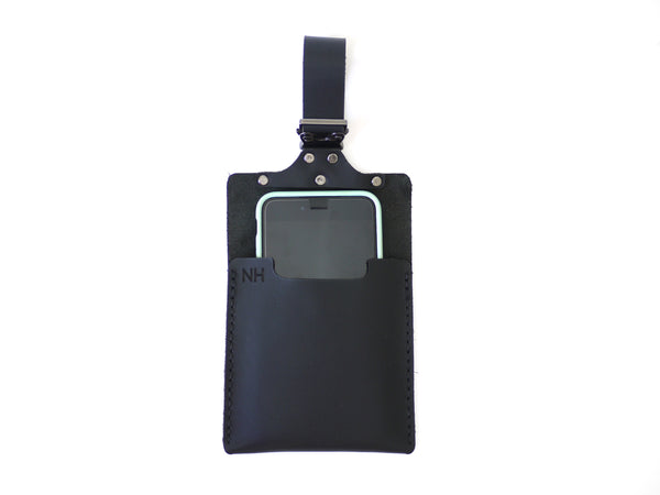 Black Leather iPhone Holder for Strollers