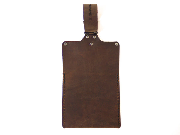 back of leather iPhone holder for strollers and exercise equipment