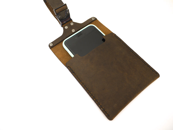 minimal leather smartphone carrier for strollers