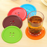 5Pcs Multicolor Silicone Button Coaster Sets (BUY 1 = 5 PIECES)