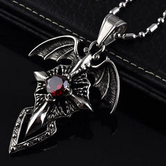 Dark Wings Cross Gem Pendant