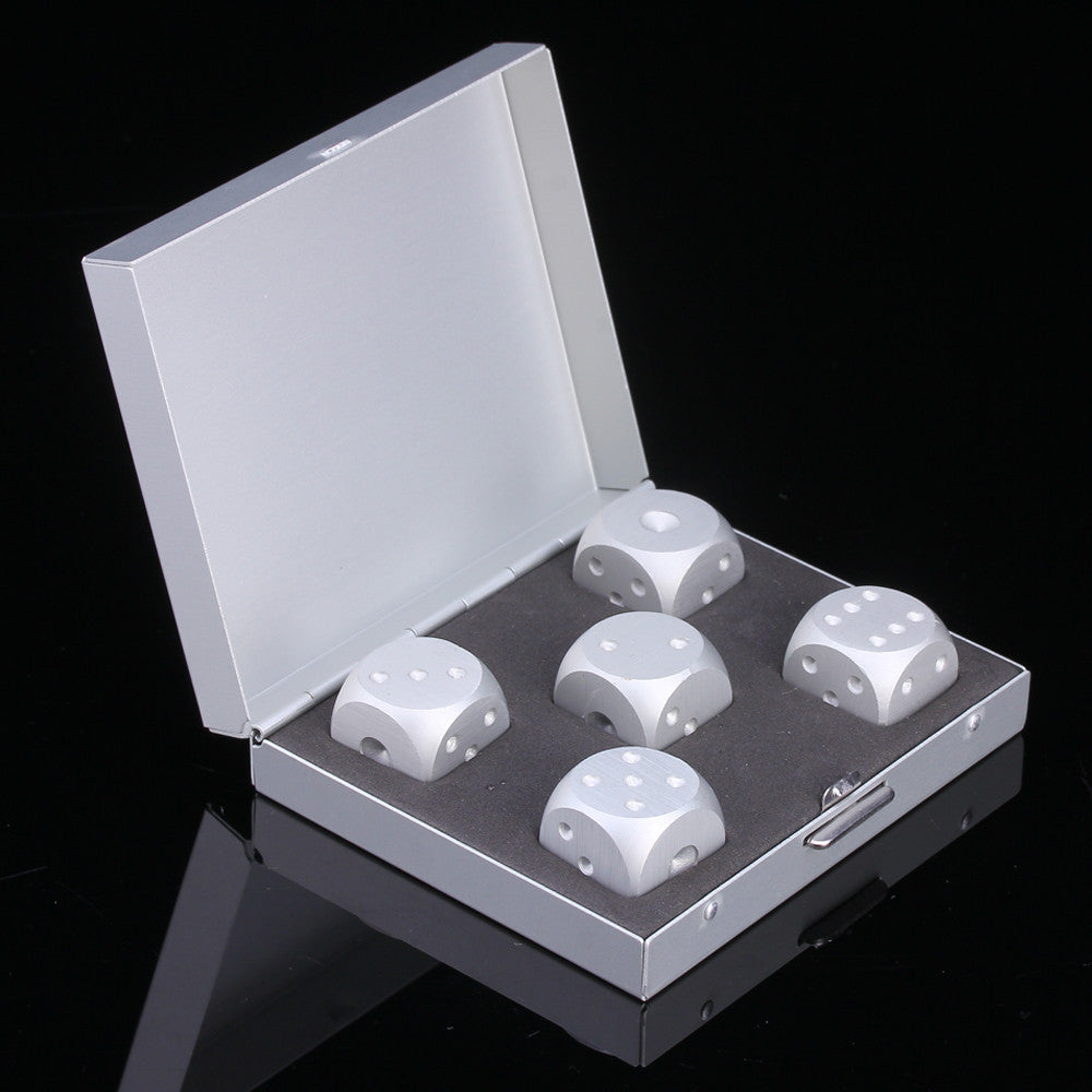 Premium Silver Dice Whiskey Stones Set