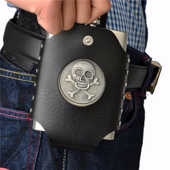 8oz Silver Skull Flask + Black Faux Leather Belt Holder