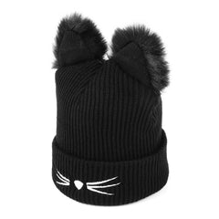 Warm Wool Knitted Cat Ear Beanie