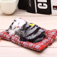 Simulation Sleeping Cat Toy with Cloth Pad