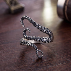 Titanium Gothic Resizable Octopus Ring