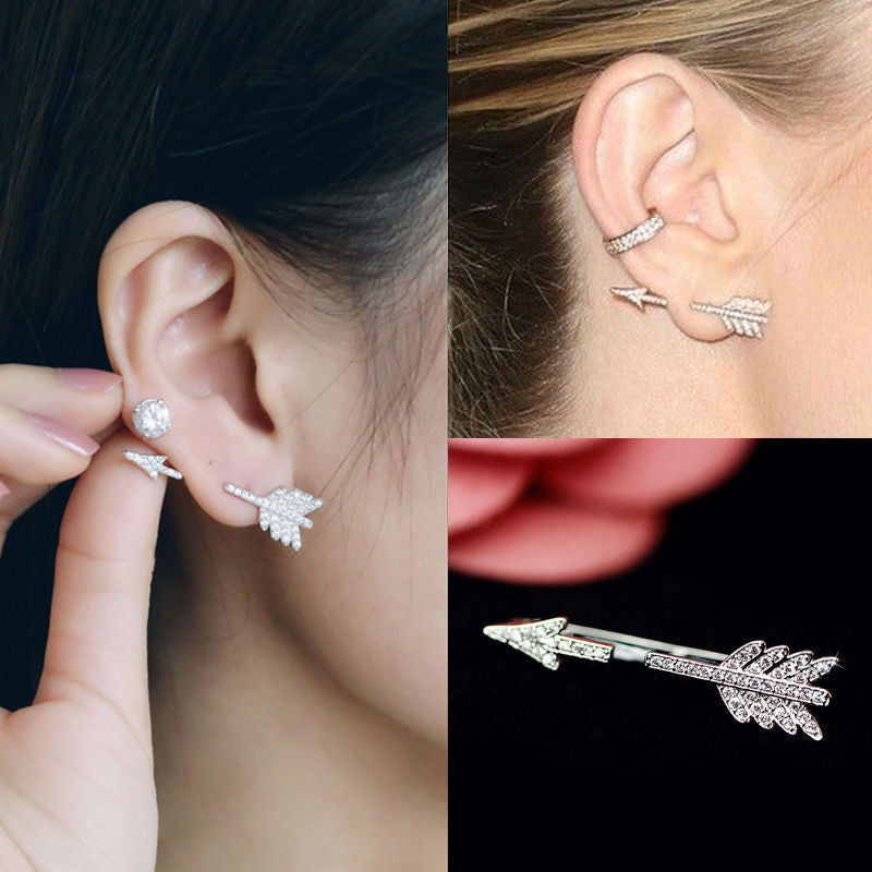 Clear Rhinestone Bow and Arrow Stud Earring