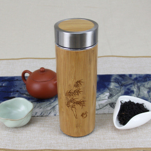 Engraved Bamboo Insulated Thermos Bottle