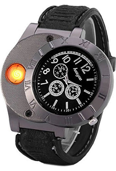 Rechargeable USB Wrist Watch with Built in Flameless Lighter