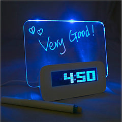 Fluorescent Message Board Digital Alarm Clock