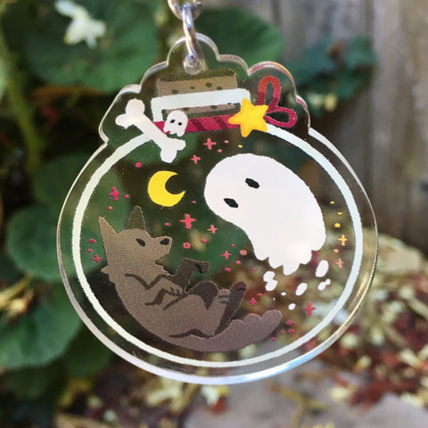 Ghost and Dog Bottle Charm