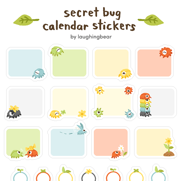Secret Bug Calendar Stickers