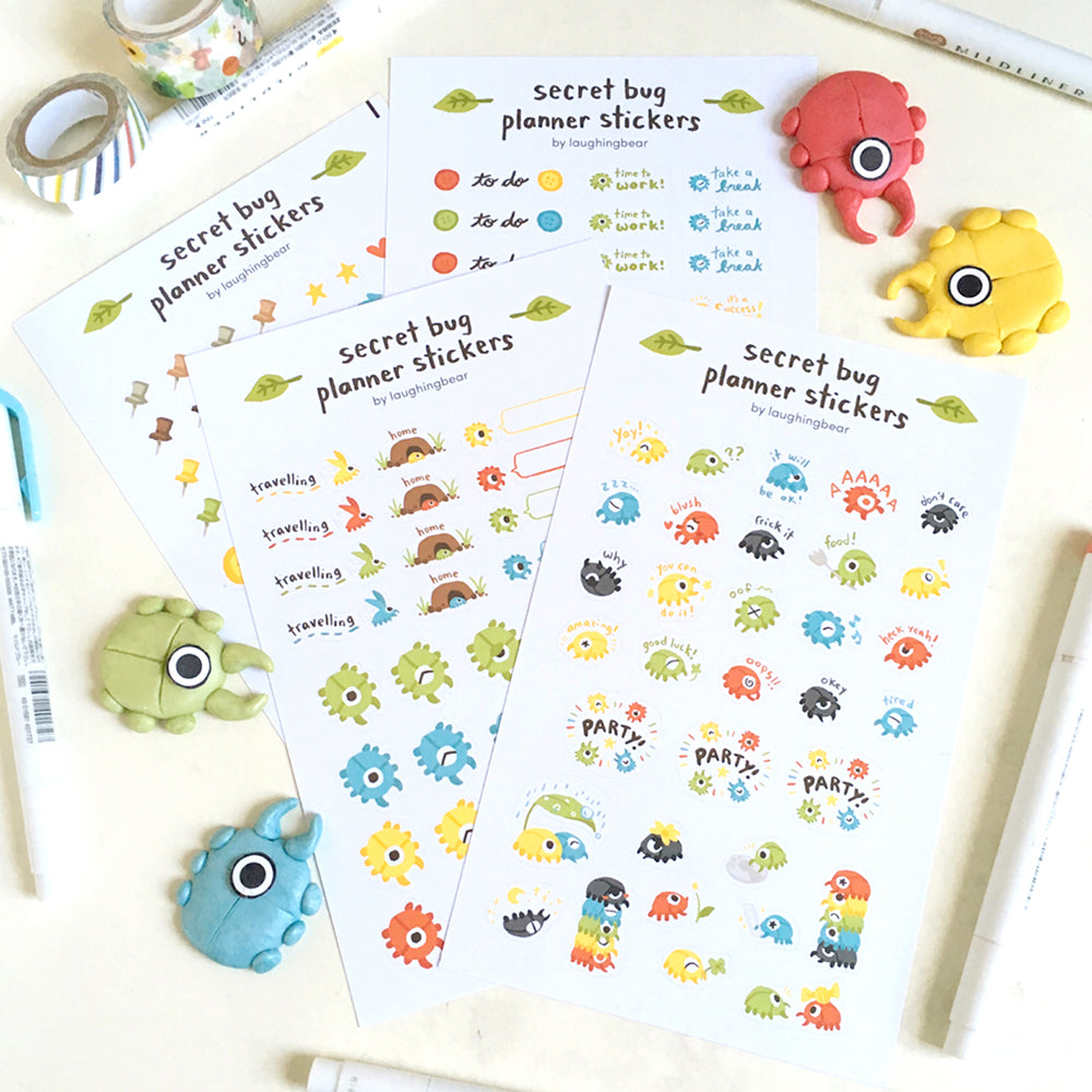 Secret Bug Planner Sticker Set