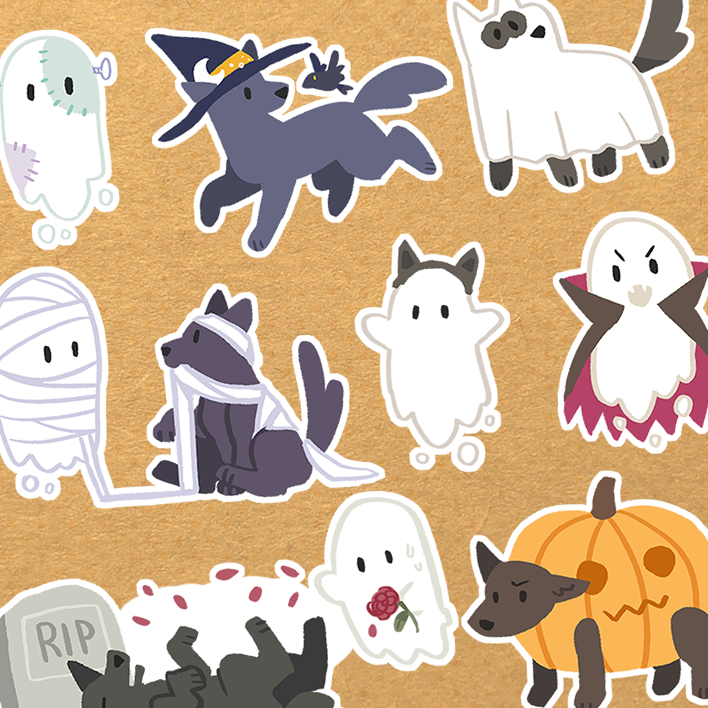 Spooky Ghost and Dog Stickers