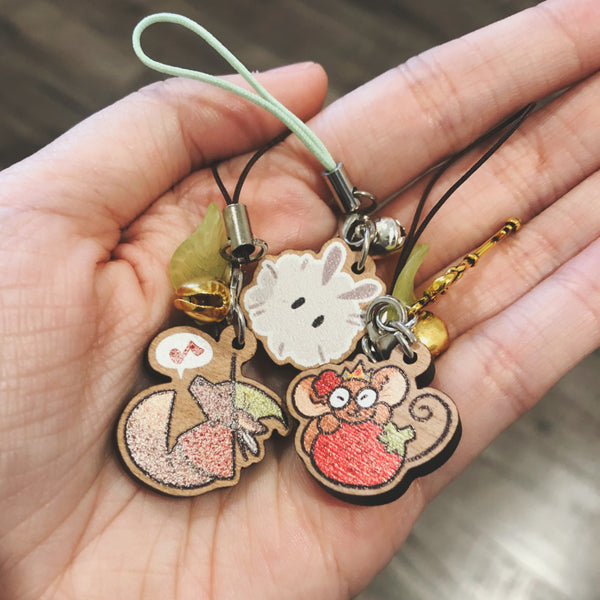 Wolf and Mouse Mini Wood Charms