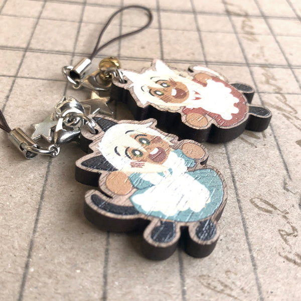 Nijuku and Sanju Wood Charm Set