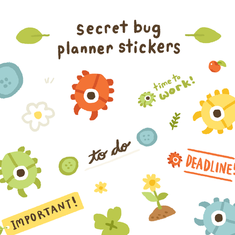 Planner Sticker Set: Secret Bug