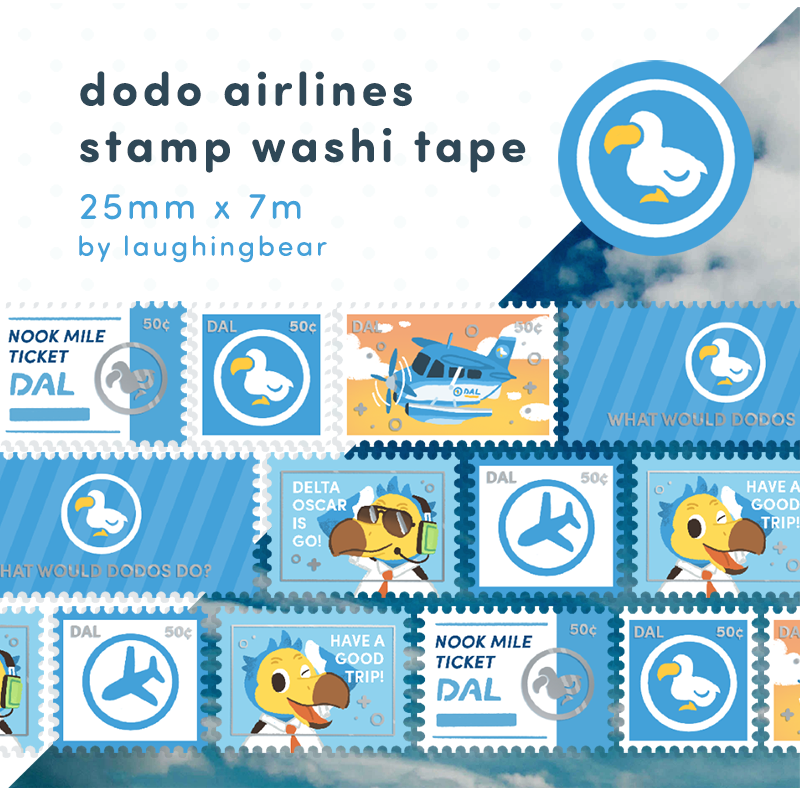 Dodo Airlines Stamp Washi Tape