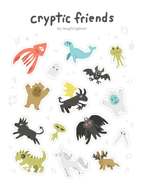 Cryptid Friends Stickersheet