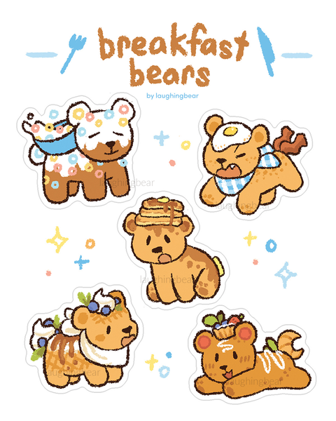 Breakfast Bear & Crab Cakes Stickersheets