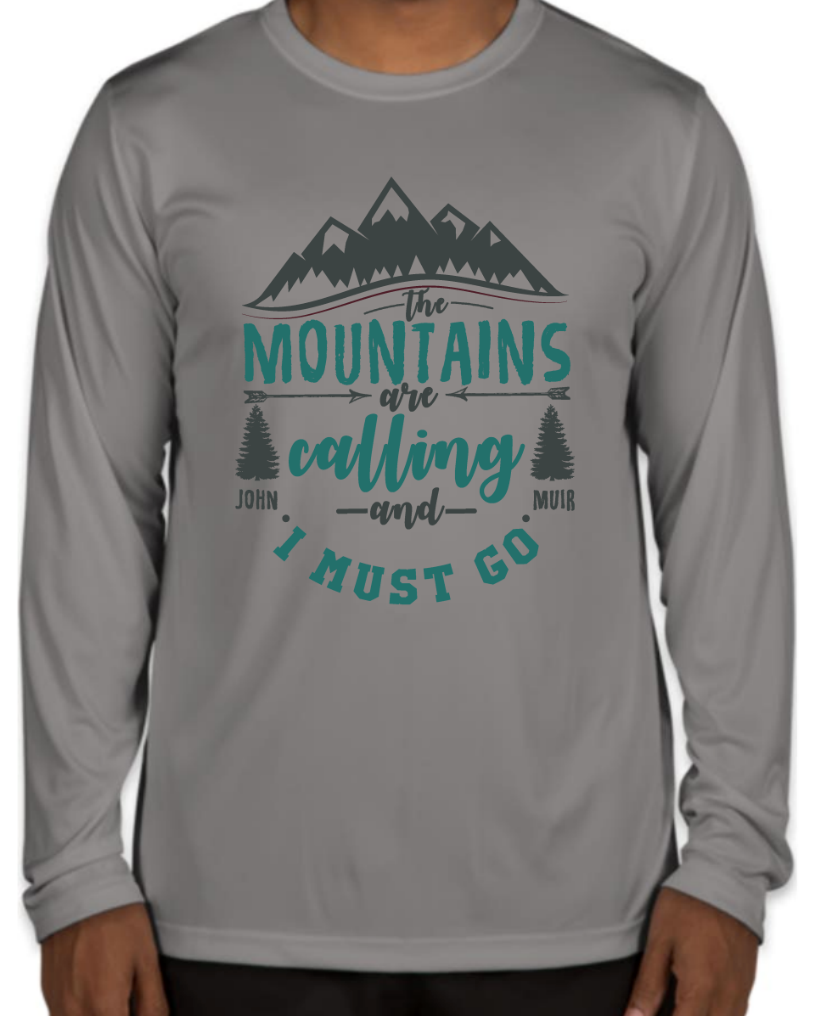 The Mountains are Calling! Long Sleeve - Sport Graphite