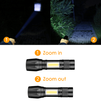 Accessories Black Daily carrying mini telescopic COB glare aluminum alloy LED flashlight
