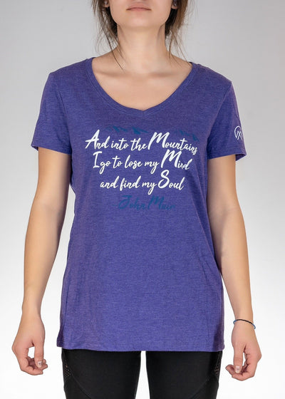 And Into The Mountains I Go! V-Neck - Purple Frost