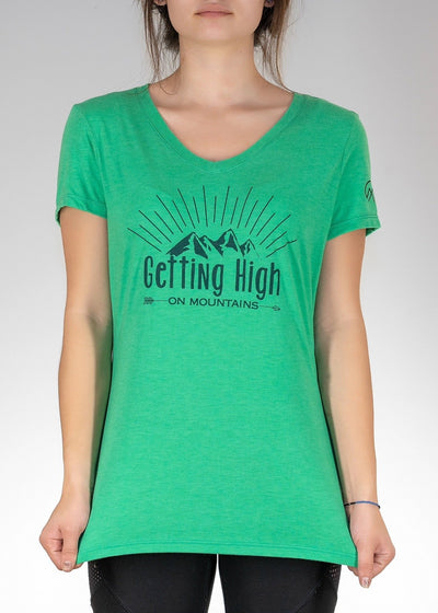 Apparel .Getting High on Mountains! V-Neck - Green Frost
