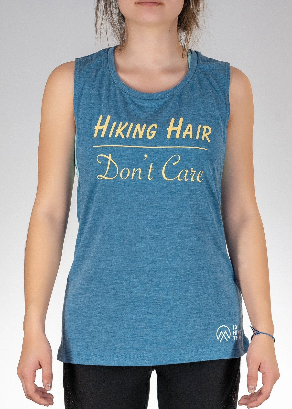 Apparel ...Hiking Hair Don't Care ! Muscle Tank - Heather Deep Teal