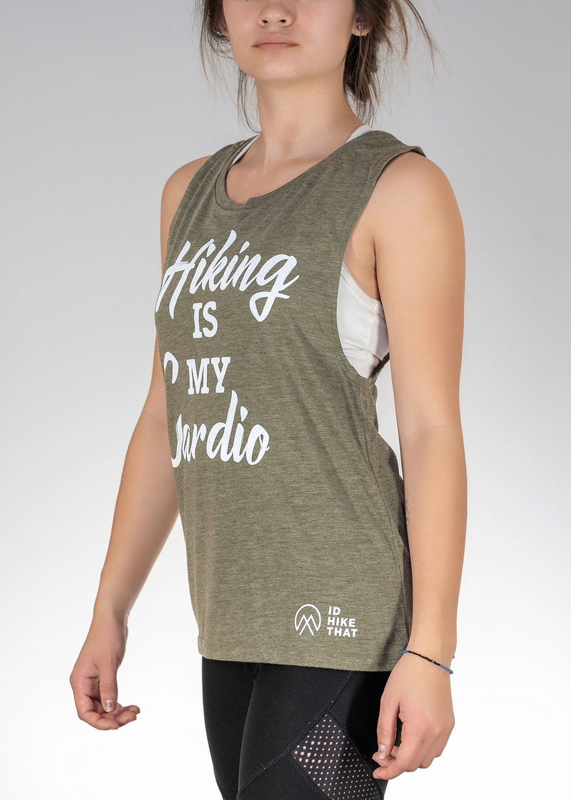Apparel ...Hiking is my Cardio! Muscle Tank - Heather Olive