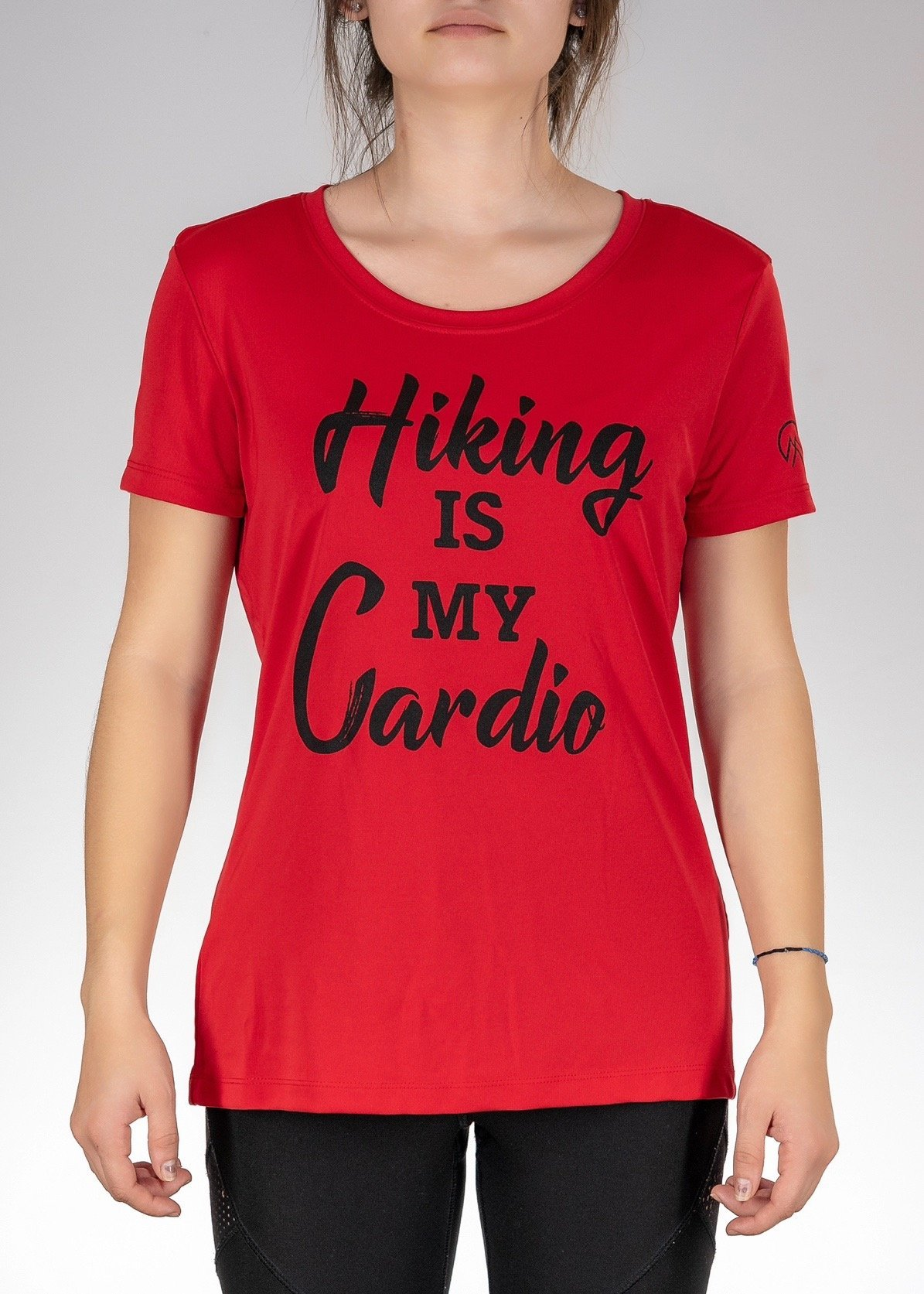 Apparel .Hiking is My Cardio! Poly Tee - Sport Scarlet Red