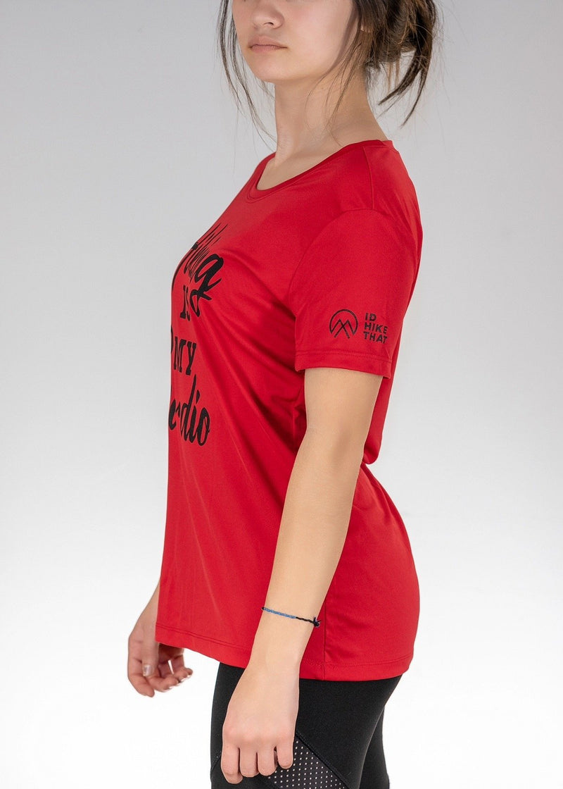 Hiking is My Cardio! Poly Tee - Sport Scarlet Red