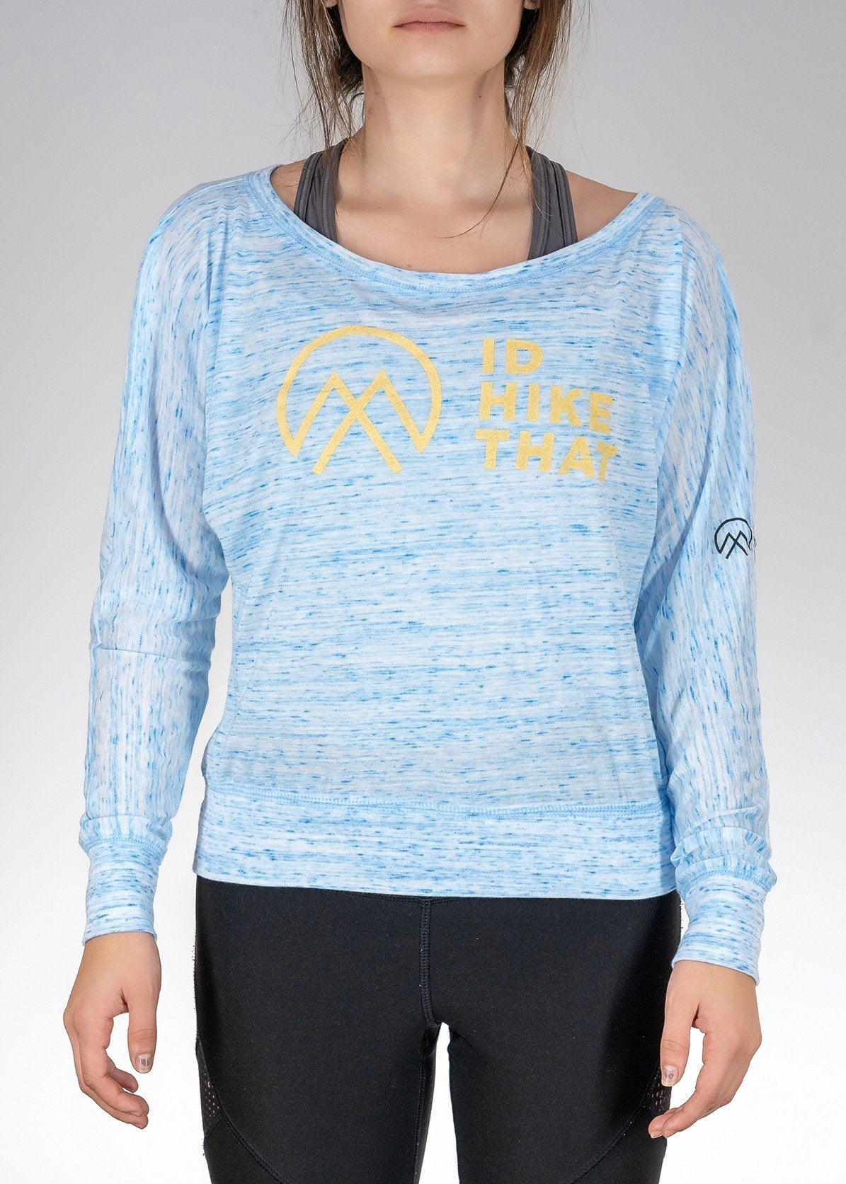 Apparel .I'd Hike That Logo! Flowy L/S Off Shoulder Tee - Blue Marble