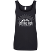 Apparel Ladies' 100% Ringspun Cotton Tank Top / Black / Small Getting High on Mountains! Cotton Tank Top