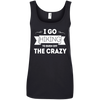 Apparel Ladies' 100% Ringspun Cotton Tank Top / Black / Small I Go Hiking to Burn off the Crazy! Cotton Tank Top