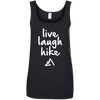 Apparel Ladies' 100% Ringspun Cotton Tank Top / Black / Small Live Laugh Hike - Cotton Tank Top