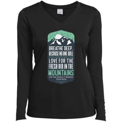 Apparel Ladies Long Sleeve Performance Vneck Tee / Black / Small Breathe Deep! Long Sleeve