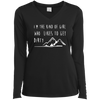 Apparel Ladies Long Sleeve Performance Vneck Tee / Black / Small I'm the Kind of Girl Who Likes to Get Dirty! Long Sleeve