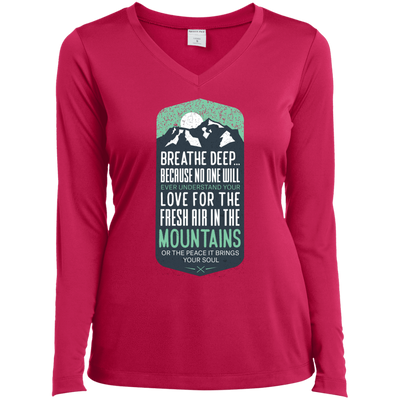 Apparel Ladies Long Sleeve Performance Vneck Tee / Pink Raspberry / Small Breathe Deep! Long Sleeve