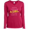 Apparel Ladies Long Sleeve Performance Vneck Tee / Pink Raspberry / Small I Know I Hike Like a Girl! Long Sleeve