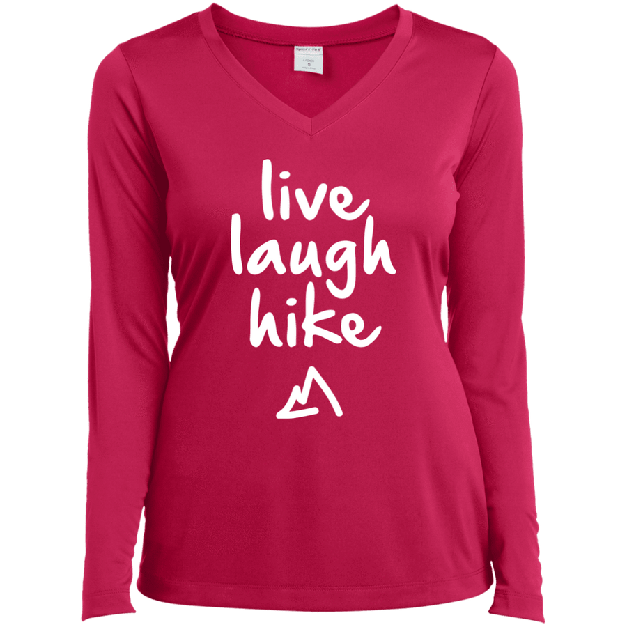 Apparel Ladies Long Sleeve Performance Vneck Tee / Black / Small Live Laugh Hike! Long Sleeve