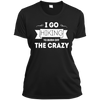 Apparel Ladies Short Sleeve Moisture-Wicking Shirt / Black / Small I Go Hiking to Burn off the Crazy! Athletic Tee