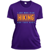 Apparel Ladies Short Sleeve Moisture-Wicking Shirt / Purple / Small I Just Want to go Hiking and Take Naps! Athletic Tee