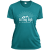 Apparel Ladies Short Sleeve Moisture-Wicking Shirt / Tropical Blue / Small Getting High on Mountains! Athletic Tee