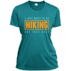 Apparel Ladies Short Sleeve Moisture-Wicking Shirt / Tropical Blue / Small I Just Want to go Hiking and Take Naps! Athletic Tee