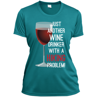 Apparel Ladies Short Sleeve Moisture-Wicking Shirt / Tropical Blue / Small Just Another Wine Drinker... Athletic Tee
